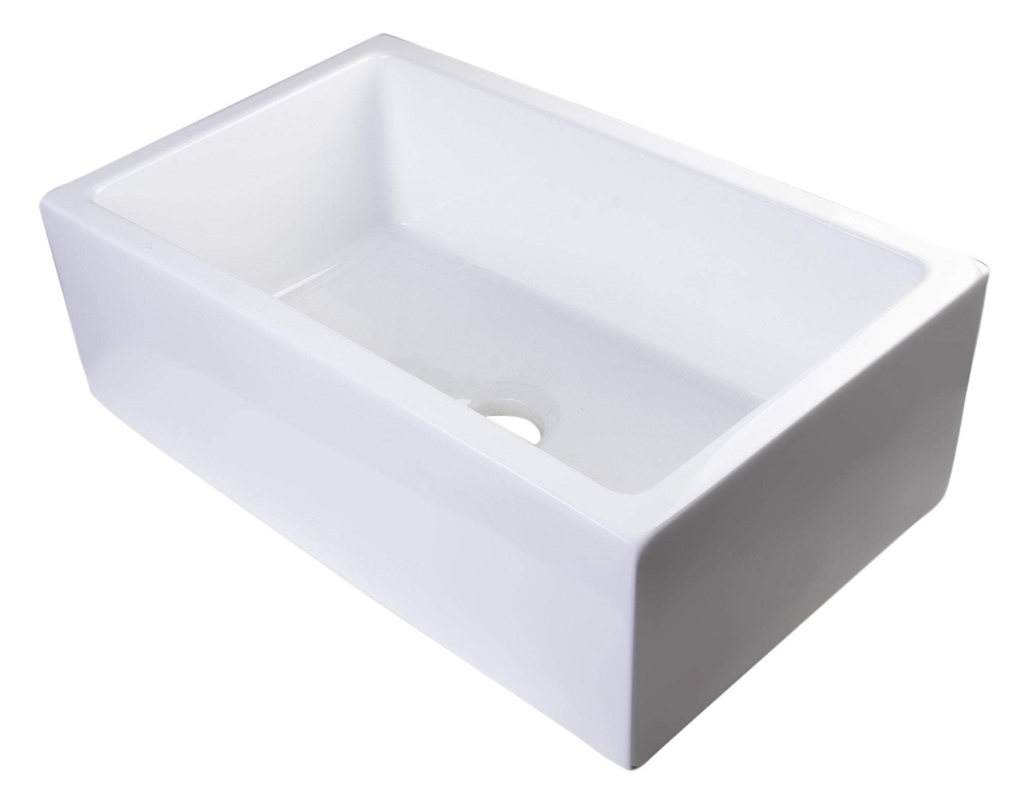 "30"" White Smooth Apron Solid Thick Wall Fireclay Single Bowl Farm Sink"