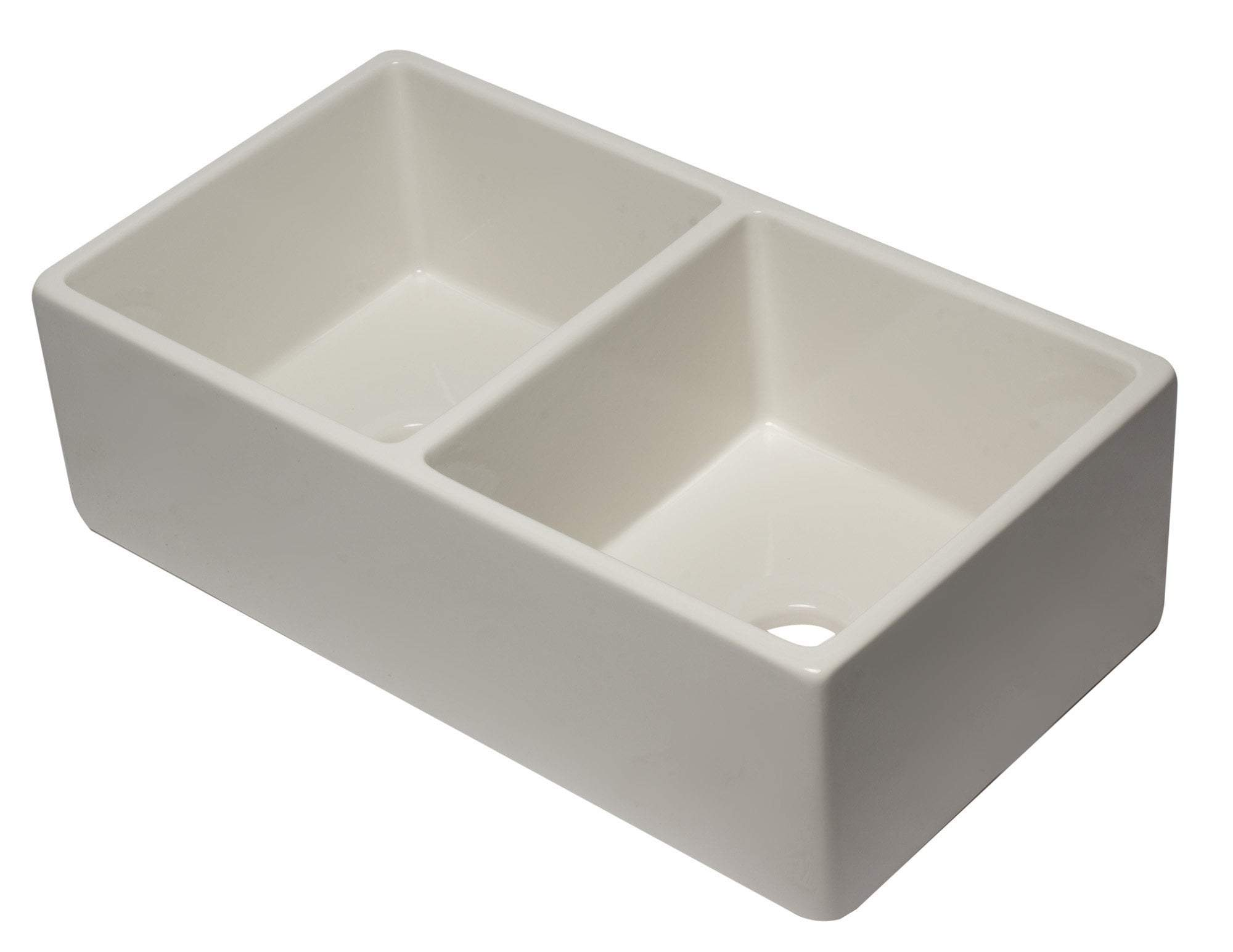 33 inch Biscuit Reversible Double Fireclay Farmhouse Kitchen Sink