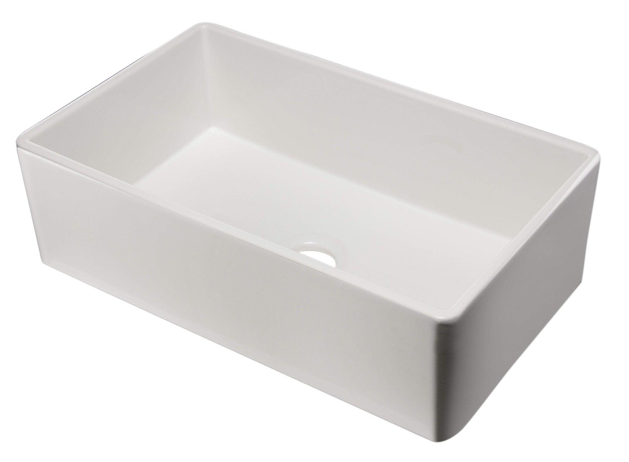 "33"" White Smooth Apron Single Bowl Fireclay Farm Sink"