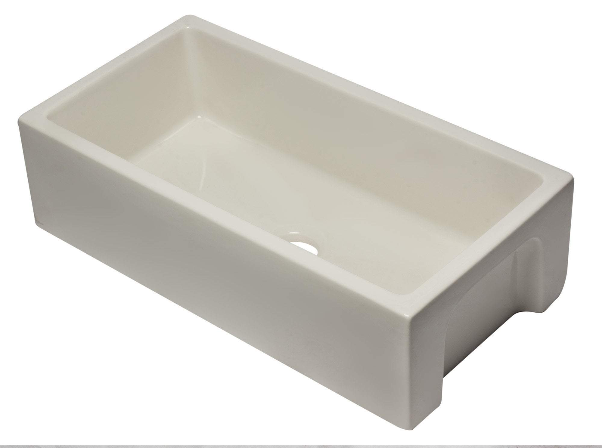 36 inch Biscuit Reversible Smooth / Fluted Single Bowl Fireclay Farm Sink