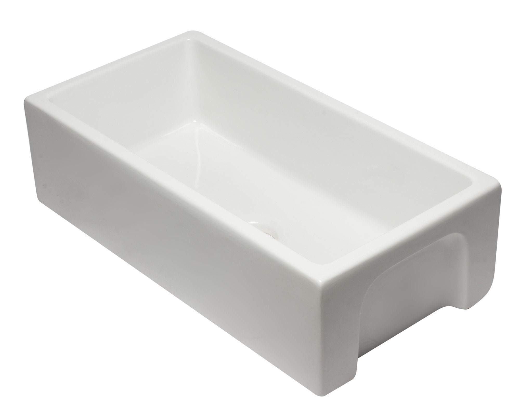 36 inch White Reversible Smooth / Fluted Single Bowl Fireclay Farm Sink