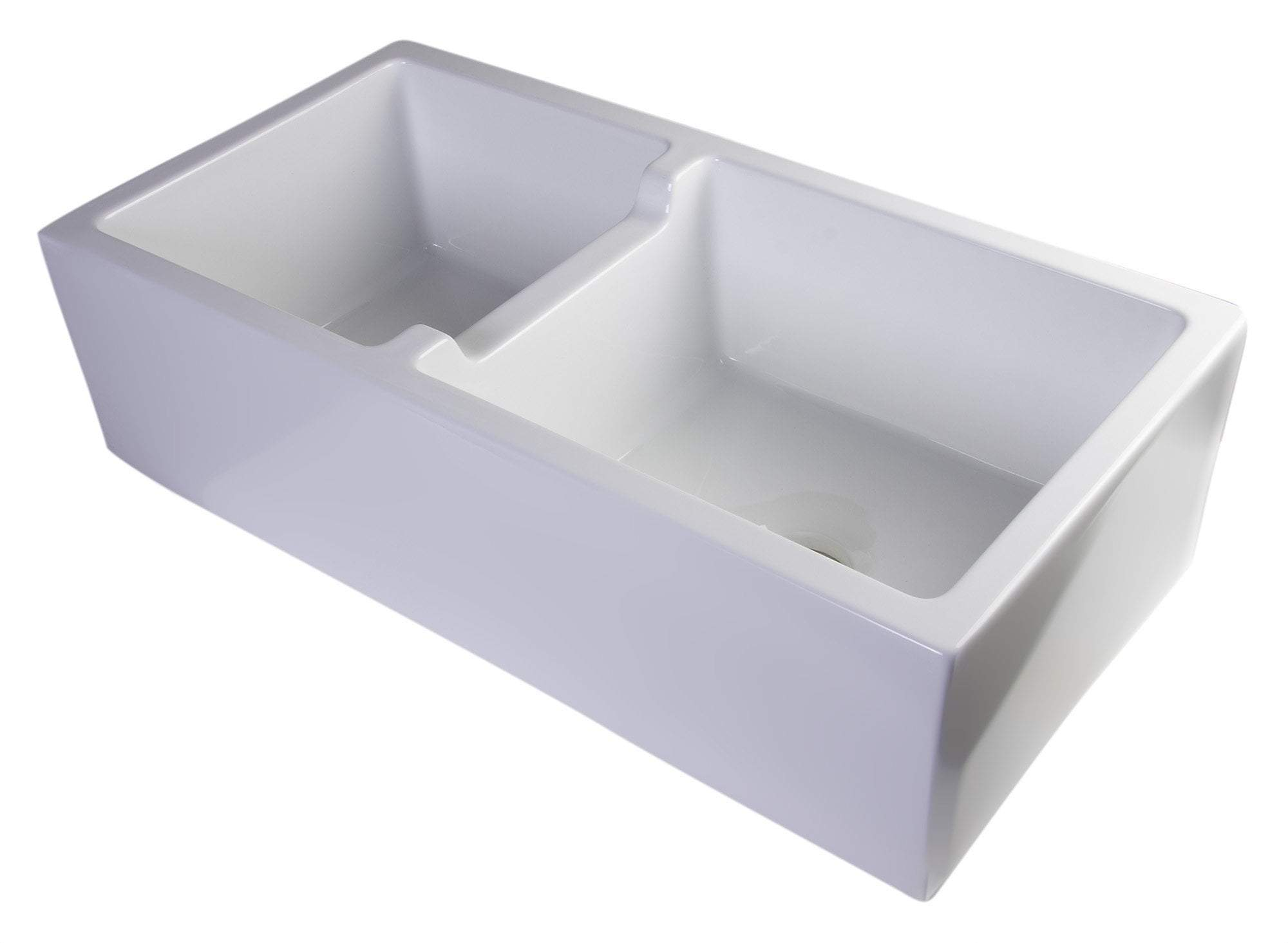 "36"" White Smooth Apron Thick Wall Fireclay Double Bowl Farm Sink"