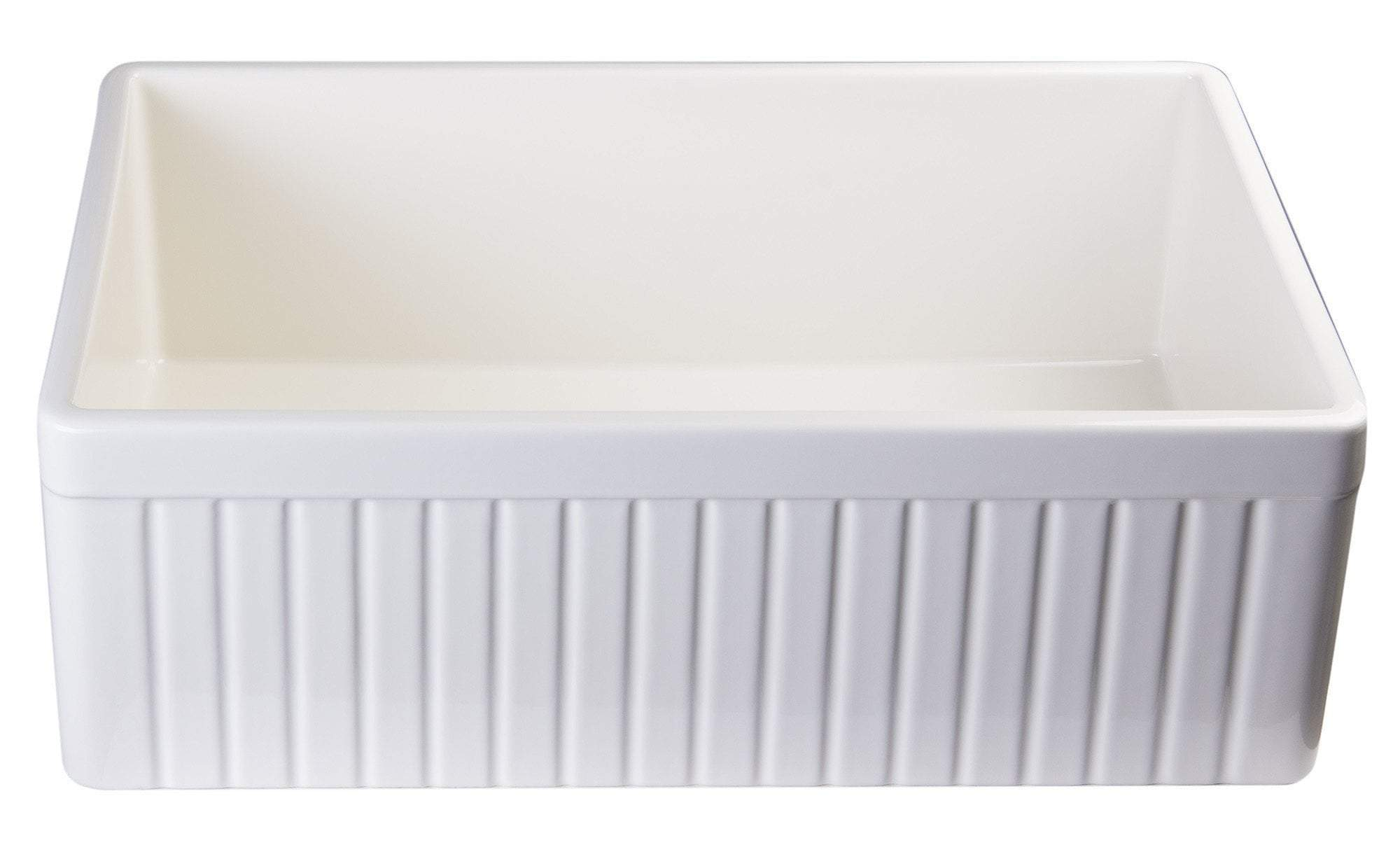 alfi biscuit 30 fluted single bowl fireclay farmhouse kitchen sink ab509 b