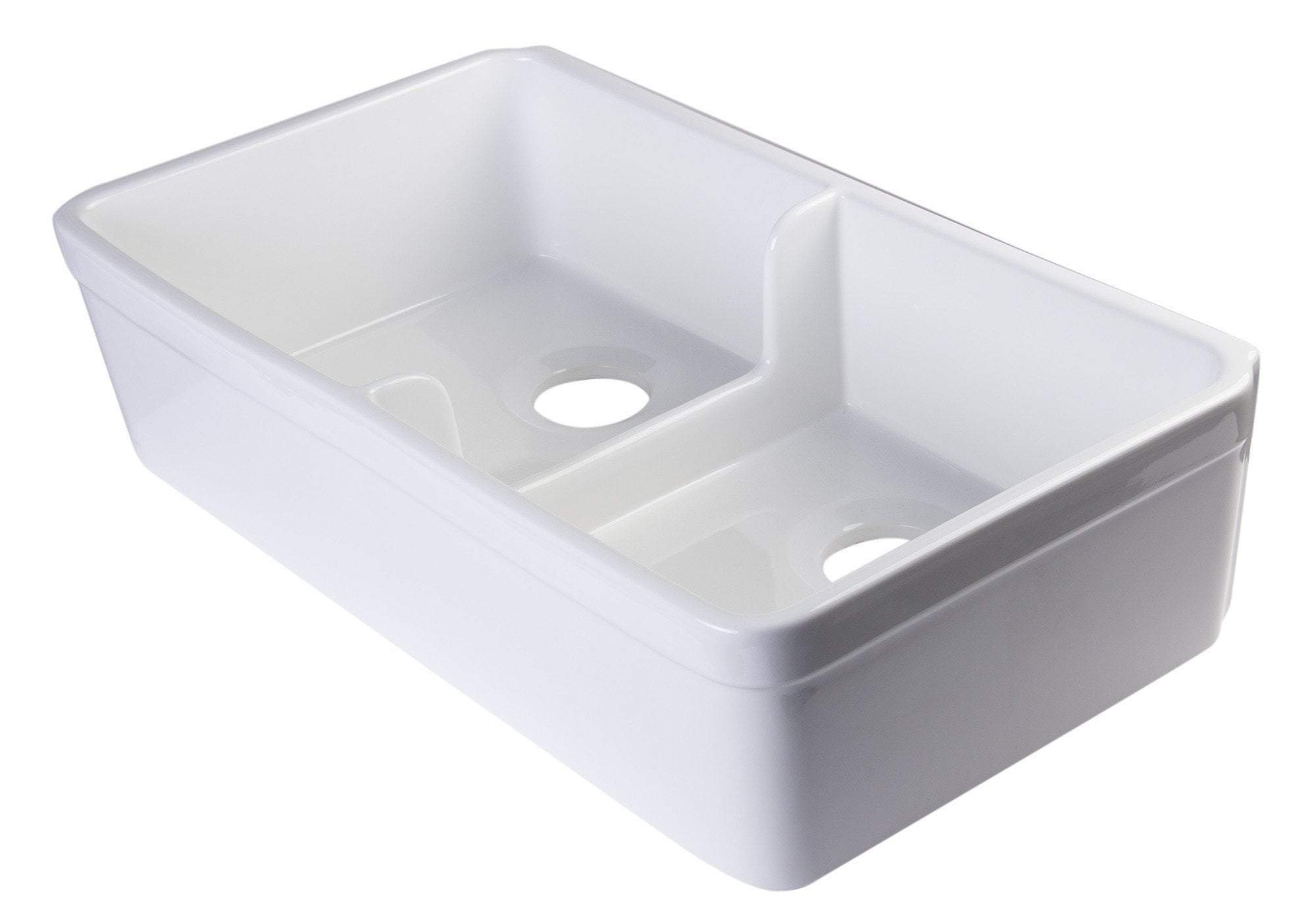 alfi biscuit 32 short wall double bowl fireclay farmhouse kitchen sink with 1 3 4 lip ab5123 b