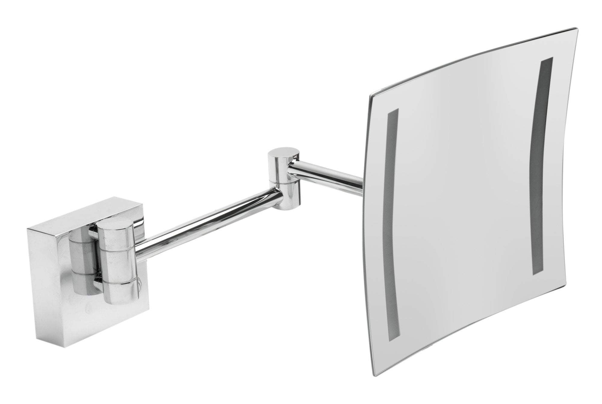"ALFI brand ABM8WLED-PC Polished Chrome Wall Mount Square 8"" 5x Magnifying Cosmetic Mirror with Light"