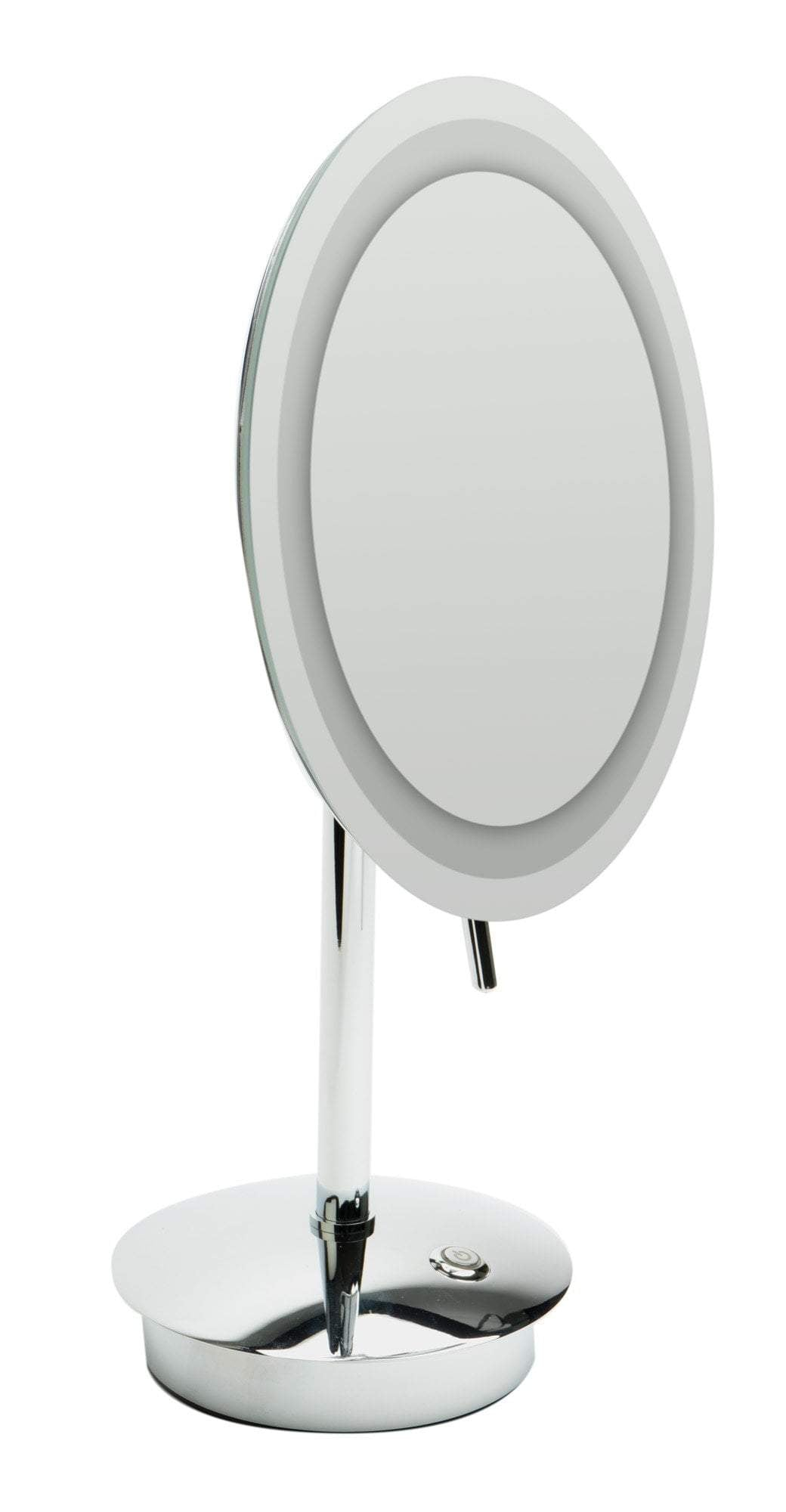 "ALFI brand ABM9FLED-PC Polished Chrome Tabletop Round 9"" 5x Magnifying Cosmetic Mirror with Light"
