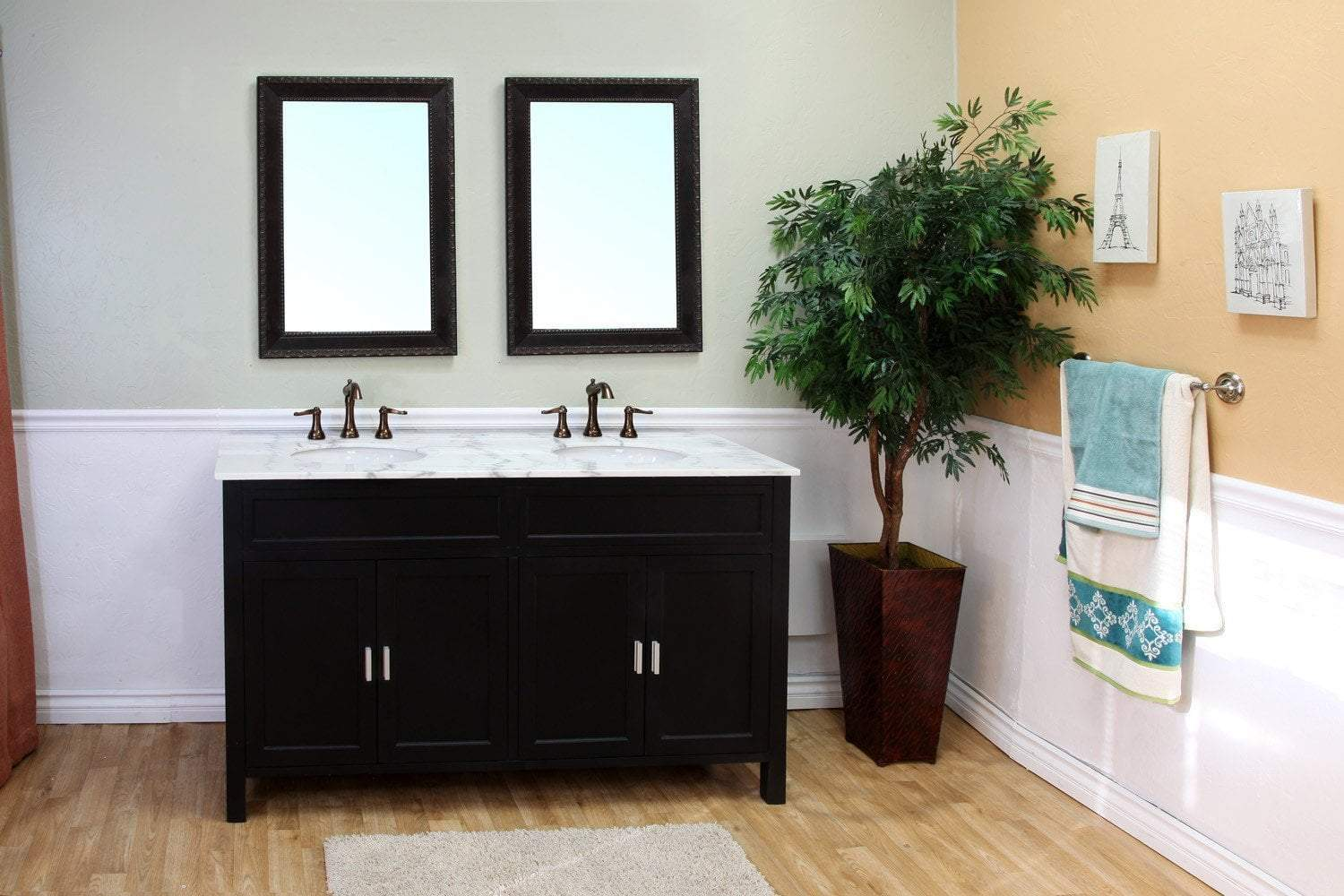 bellaterra 60 double sink vanity in wood ebony 600168 60b
