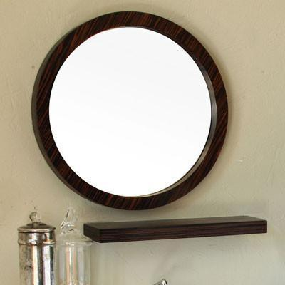 "21"" Round Mirror, Solid Wood Frame, Ebony-Zebra Finish"