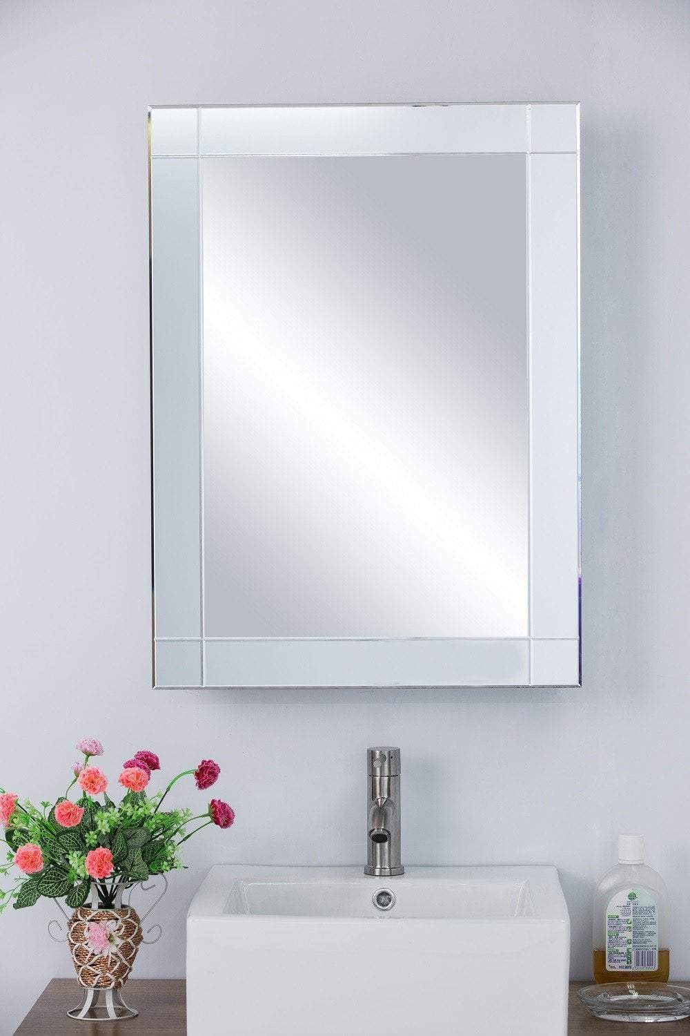 "22.25""W x 30.25""H Medicine Cabinet, Mirrored Frame, Recessed or Surface Mount"