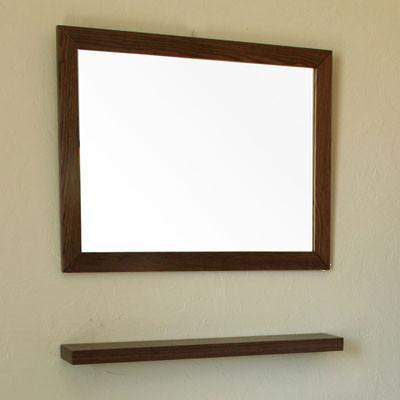 "31.5"" Mirror, Solid Wood Frame, Dark Walnut"