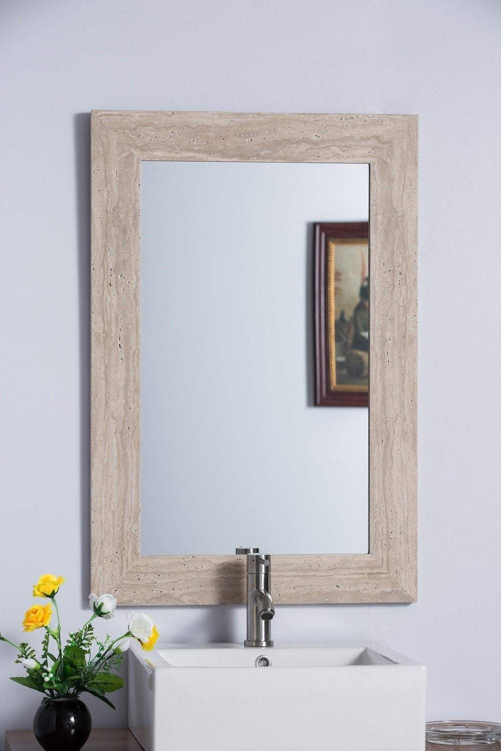 "Bellaterra 24""W x 36""H Rectangular Vanity Mirror, Travertine Stone Frame"