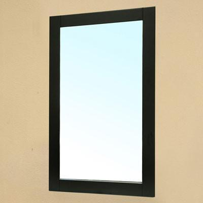 "Bellaterra 25.6""W x 35.5""H Vanity Mirror, Solid Wood Frame, Black Finish"