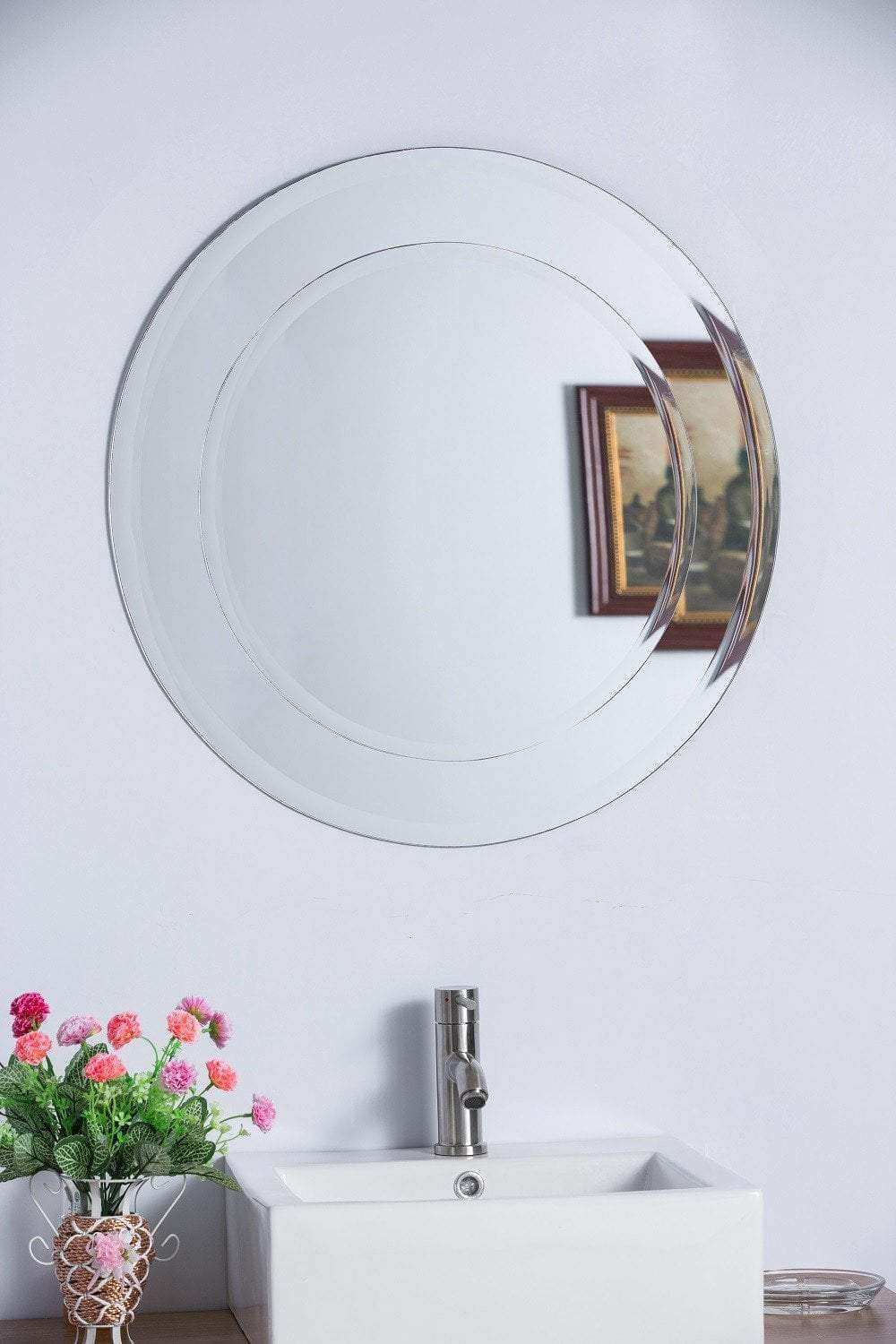 "Bellaterra Round 35.4"" Bathroom Vanity Mirror, Frameless"