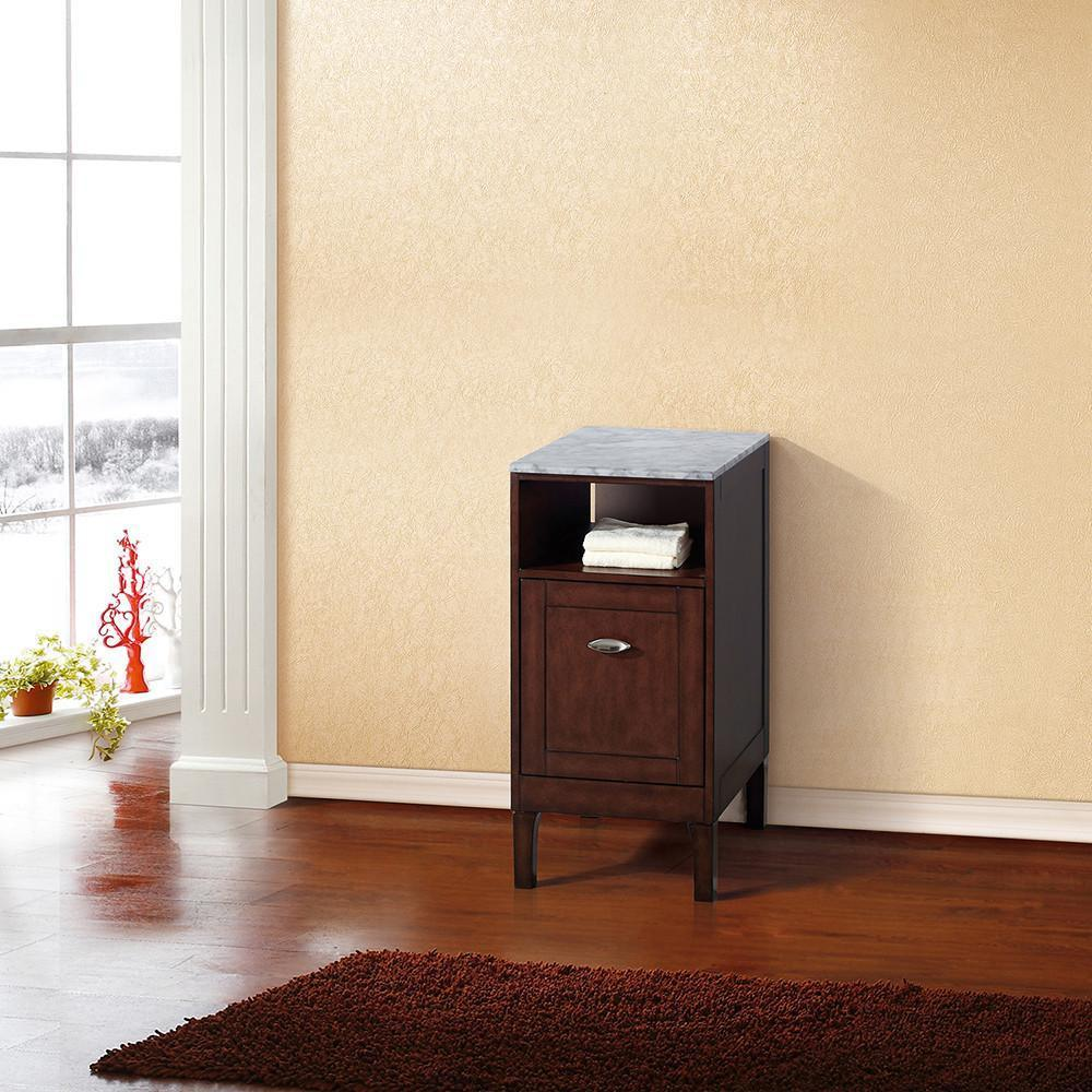 "16"" Side Linen Cabinet, Solid Wood, Sable Walnut Finish"