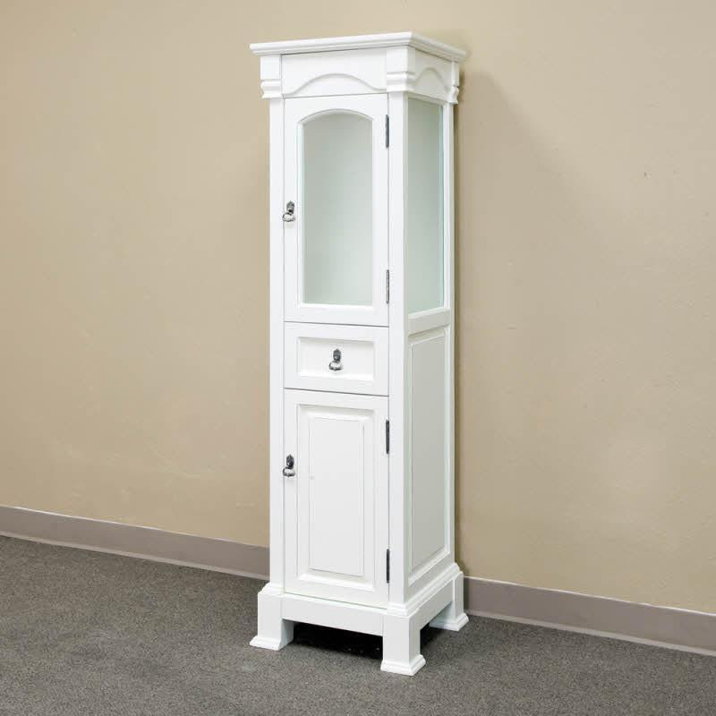 "Bellaterra 65""H Linen Cabinet, Solid Wood, Cream White"