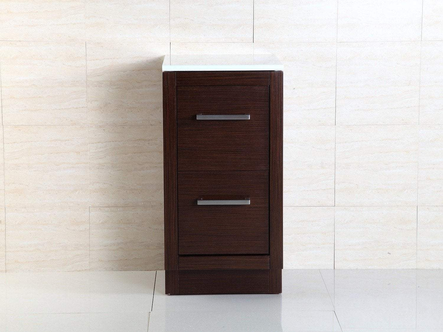"Bellaterra Slim 15.75""W x 31""H Side Linen Cabinet, Brown Finish, Marble Top"
