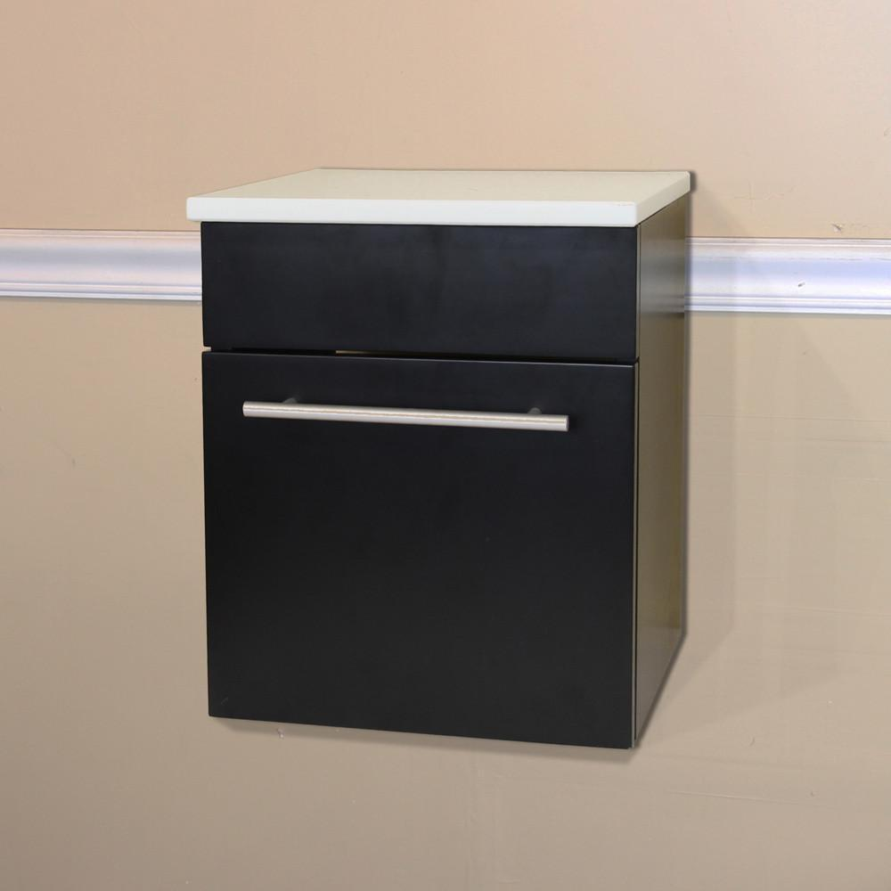 Bellaterra Wall Mount Side Cabinet, Solid Wood, Black Finish, White Stone Top
