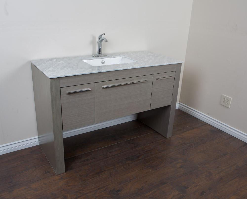 bellaterra 55 3 single sink vanity in gray white marble 804380 r gy wh
