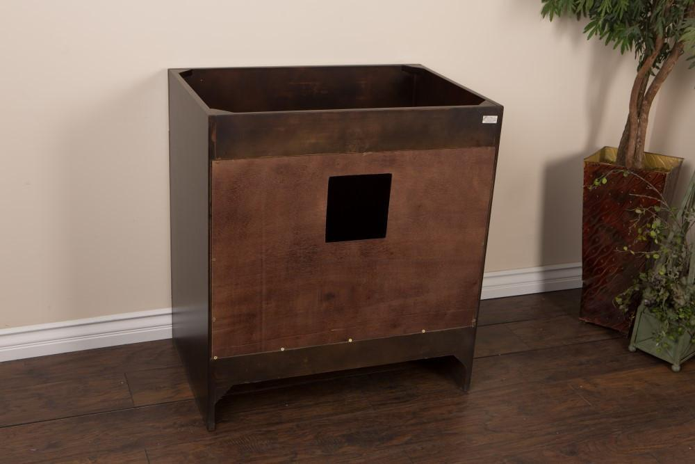 "Bellaterra 32"" Single Sink Vanity, Sable Walnut, Solid Wood, Cabinet Only"