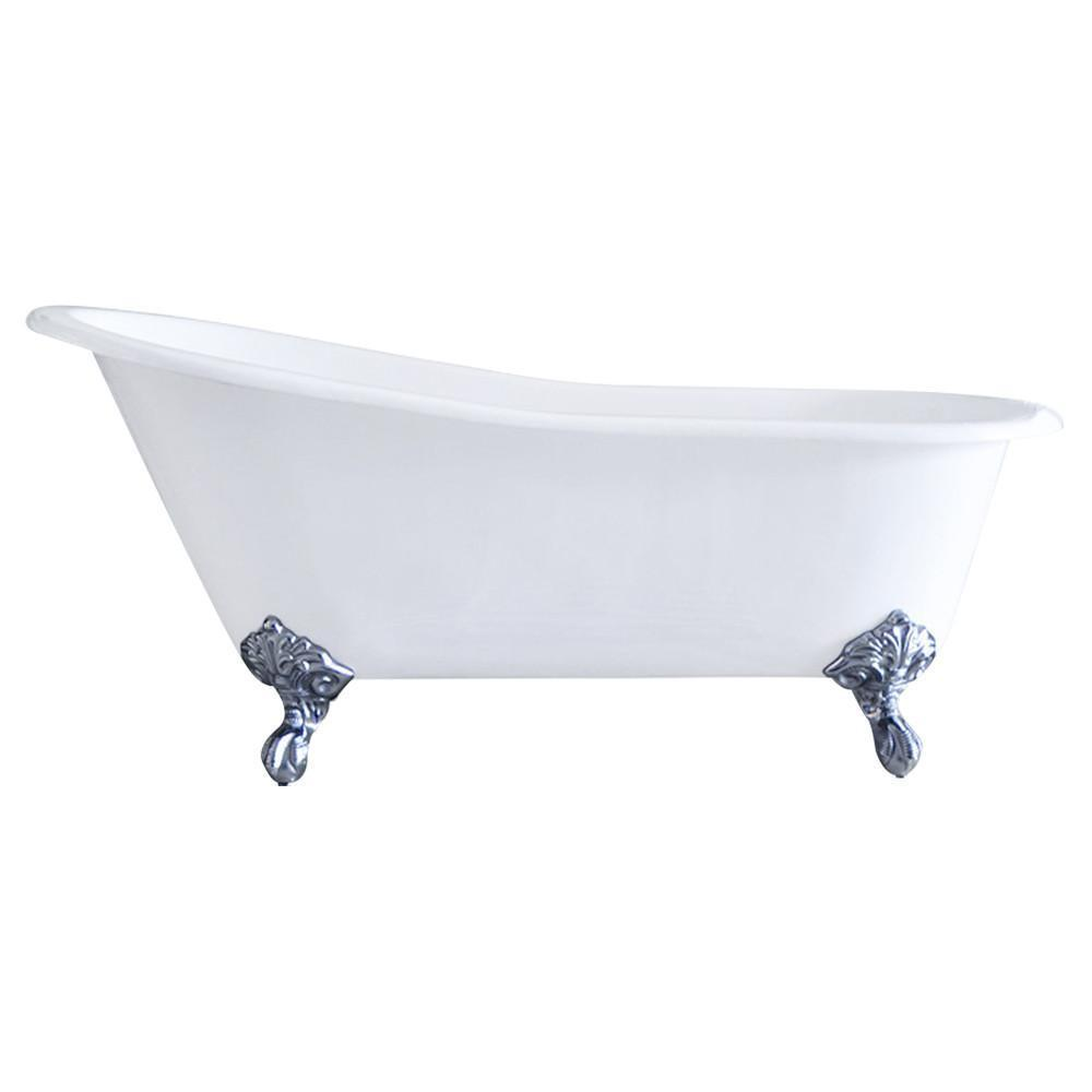 "61"" Cast Iron Slipper Clawfoot Tub, Deck Mount Faucet Drilling"