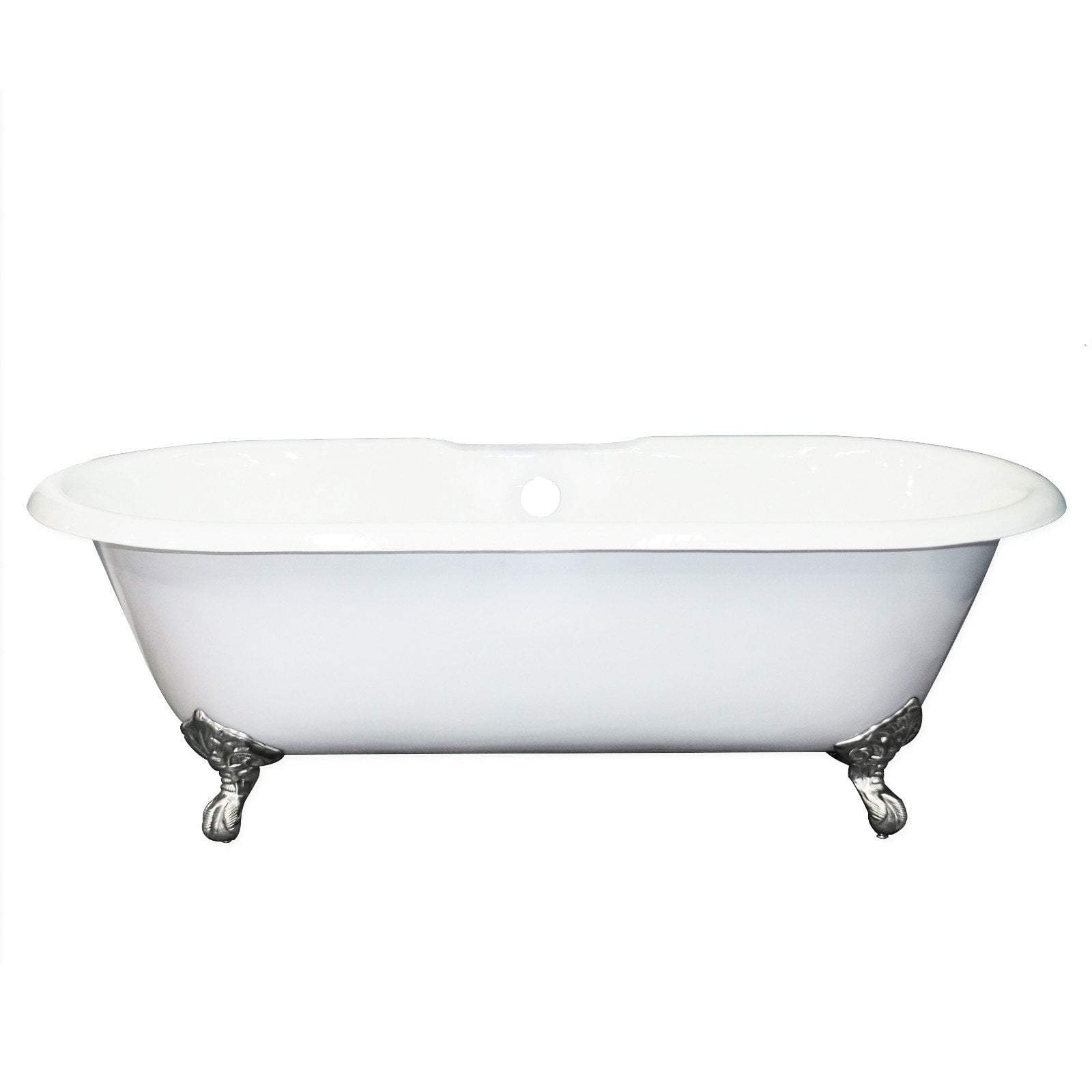 "67"" Cast Iron Double Ended Clawfoot Tub, Deck Mount Faucet Drillings"
