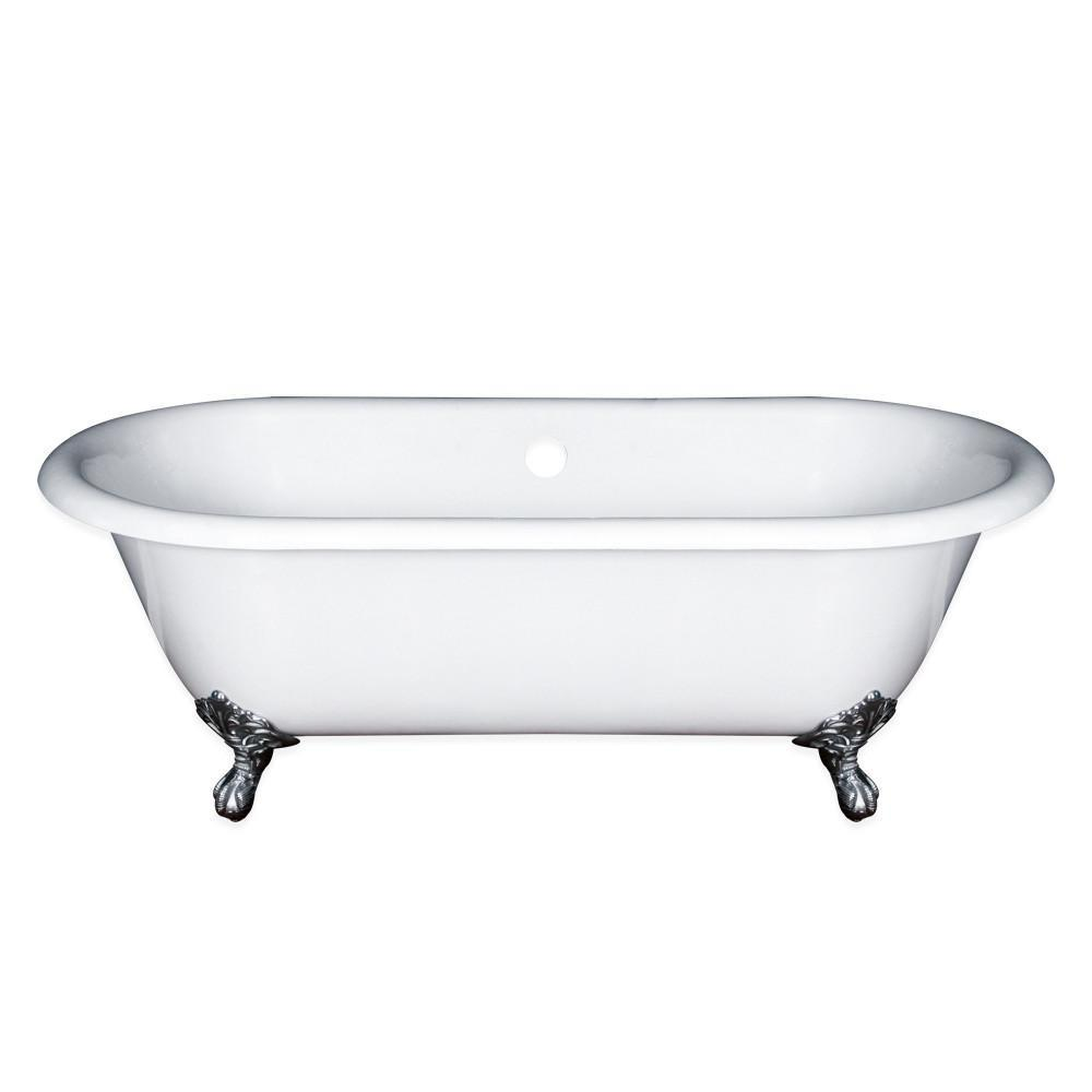 "67"" Cast Iron Double Ended Clawfoot Tub, No Faucet Drill"
