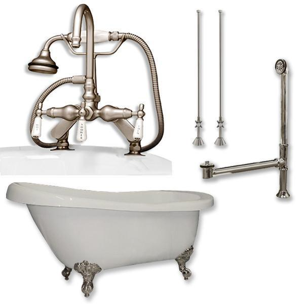 "61"" Acrylic Slipper Tub, Deckmount British Telephone Plumbing Pkg"
