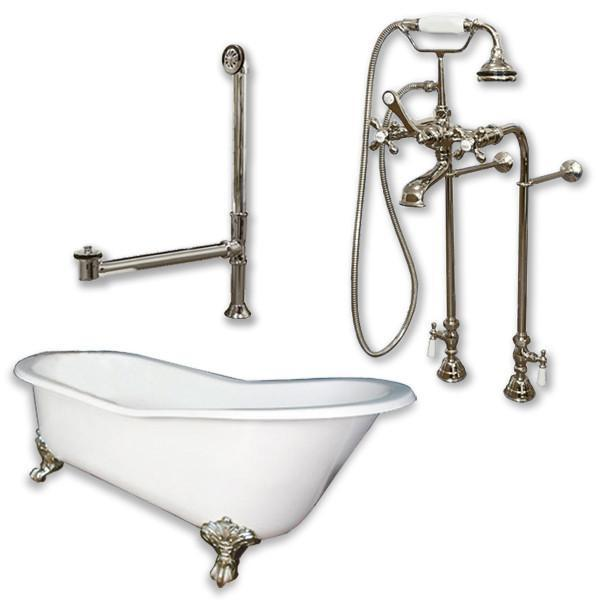 "61"" Cast Iron Slipper Tub, Freestanding British Telephone Plumbing Pkg"