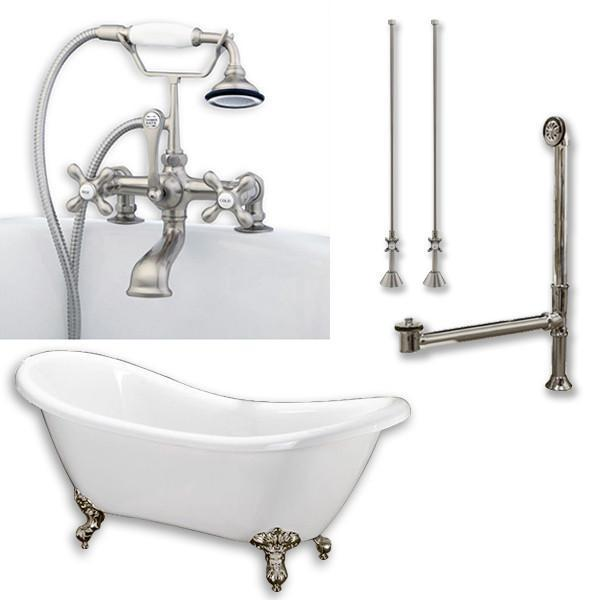 "68"" Double Slipper Tub, Deckmount British Telephone Plumbing Pkg 2"" Risers"
