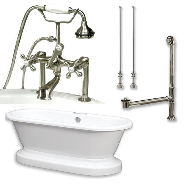 "70"" Acrylic Double Ended Pedestal Tub, British Telephone Plumb Pkg 6"" Riser"
