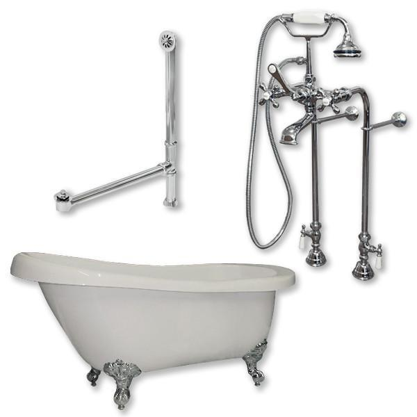 "61"" Acrylic Slipper Tub, British Telephone Plumbing Pkg"