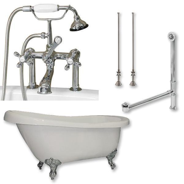 "67"" Acrylic Slipper Tub, Deckmount British Telephone Plumbing Pkg"