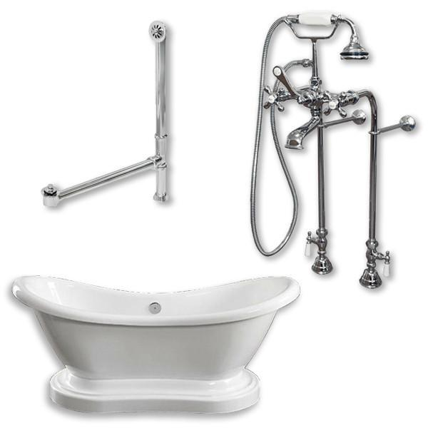 "68"" Acrylic Double Slipper Pedestal̴Ì_Tub, Freestanding British Telephone Plumbing"