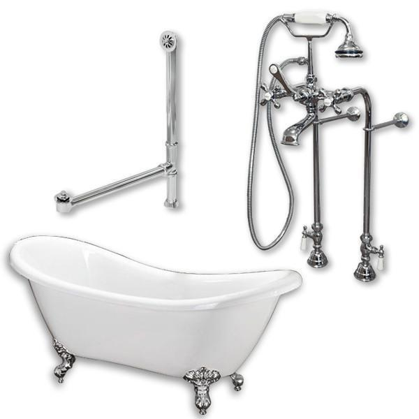 "68"" Double Slipper Clawfoot Tub, Freestanding British Telephone Plumbing Pkg"