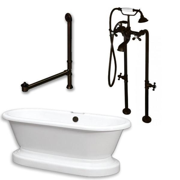 "70"" Acrylic Double Ended Pedestal Tub, Freestanding British Telephone Plumbing"