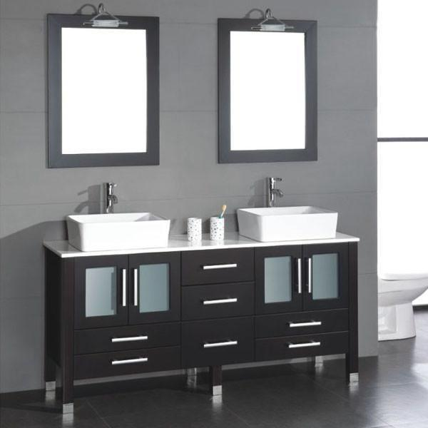 cambridge 63 inch solid wood glass double vessel sink vanity set with brushed nickel faucets 8119 b bn
