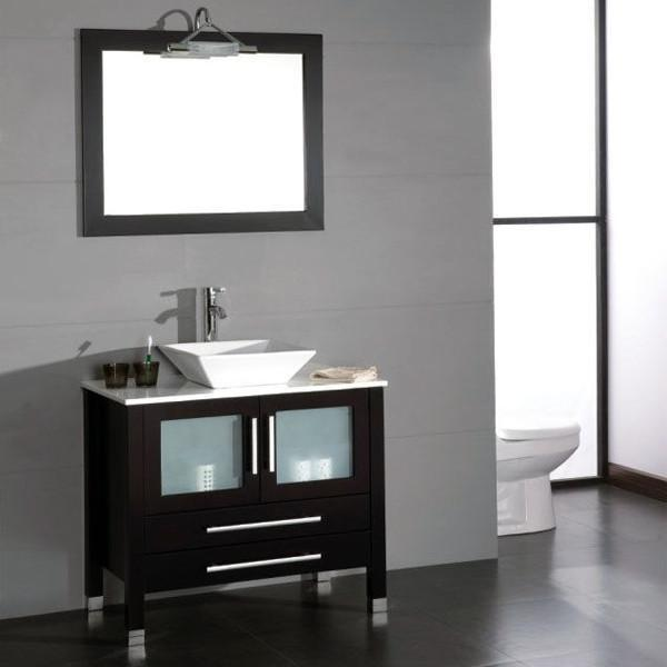 cambridge 36 inch solid wood porcelain single vessel sink vanity set with a brushed nickel faucet 8111 bn