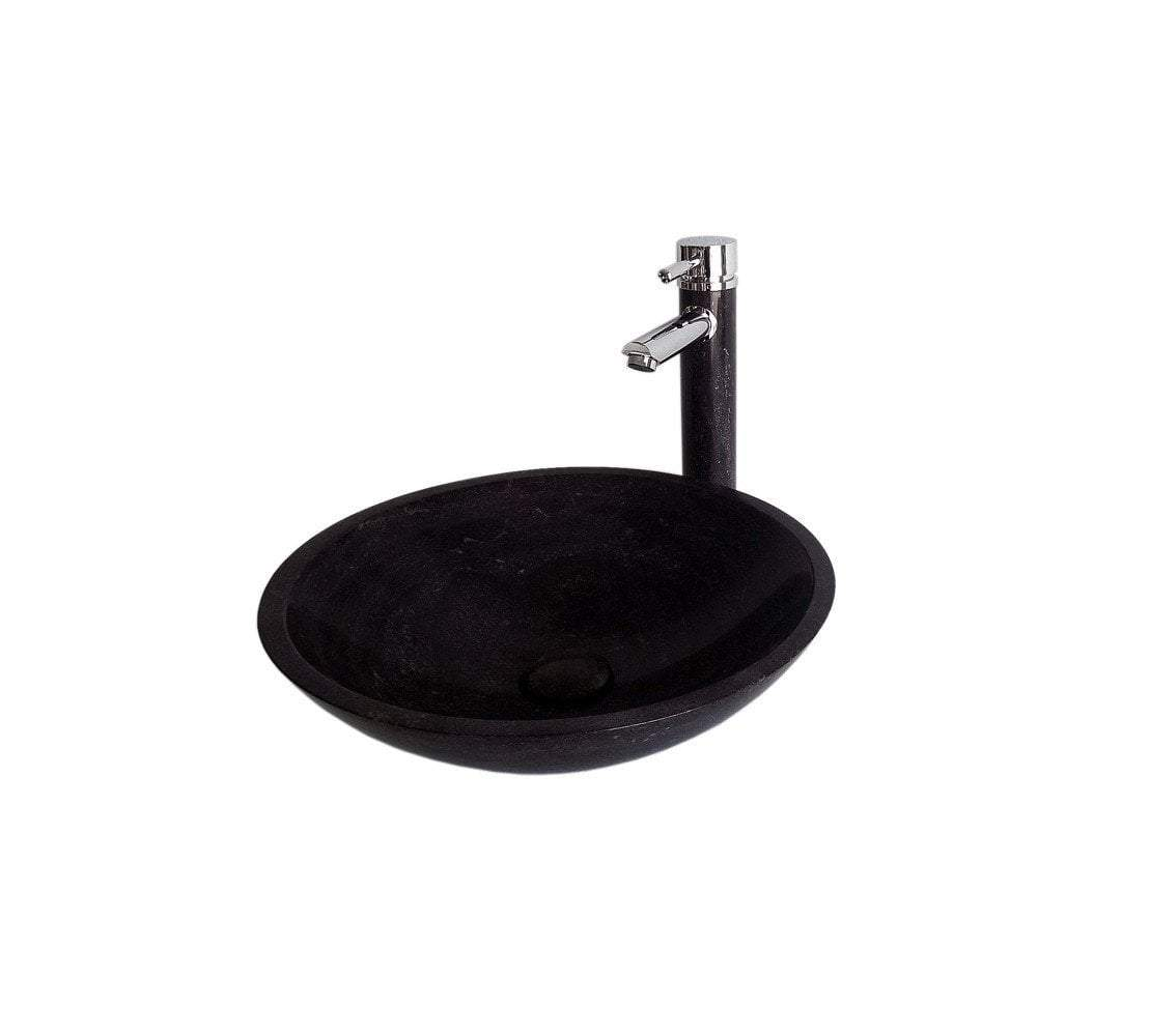 Blue Stone Bathroom Vessel Sink with Faucet and Drain