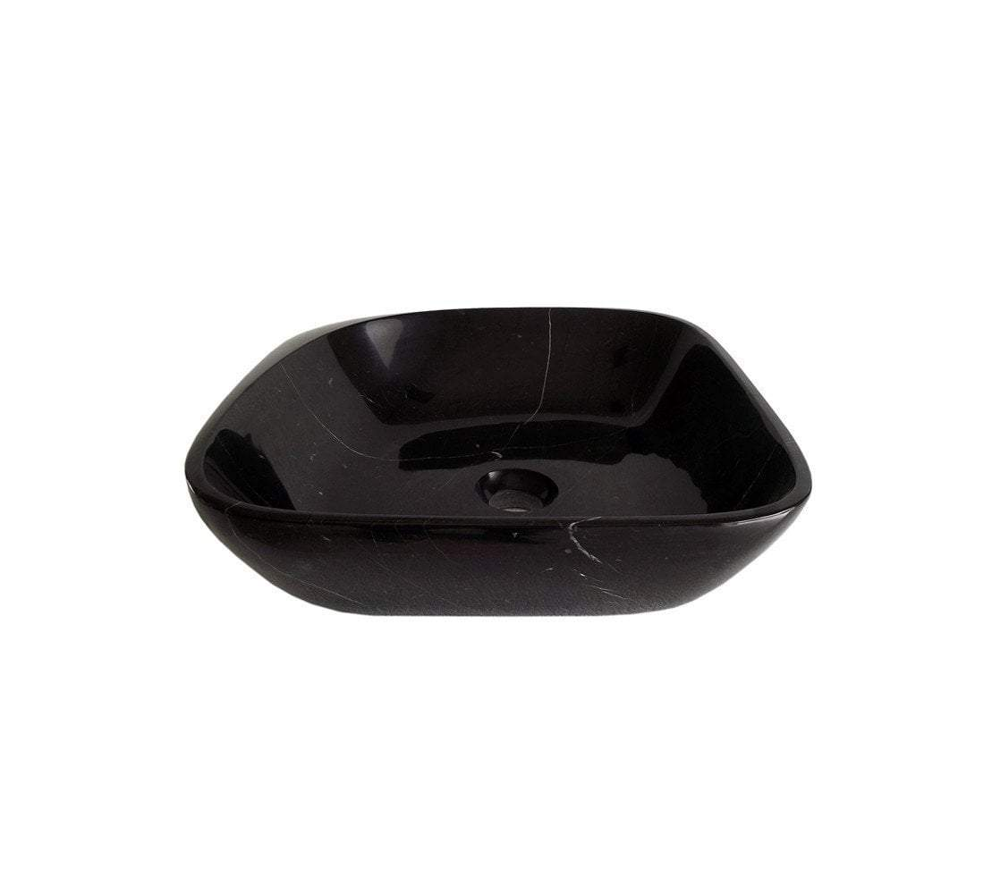 Maya Black Marquine Stone Bathroom Vessel Sink with Faucet and Drain
