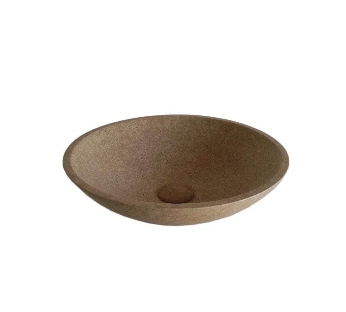 Natural Galala Stone Bathroom Vessel Sink with Faucet and Drain