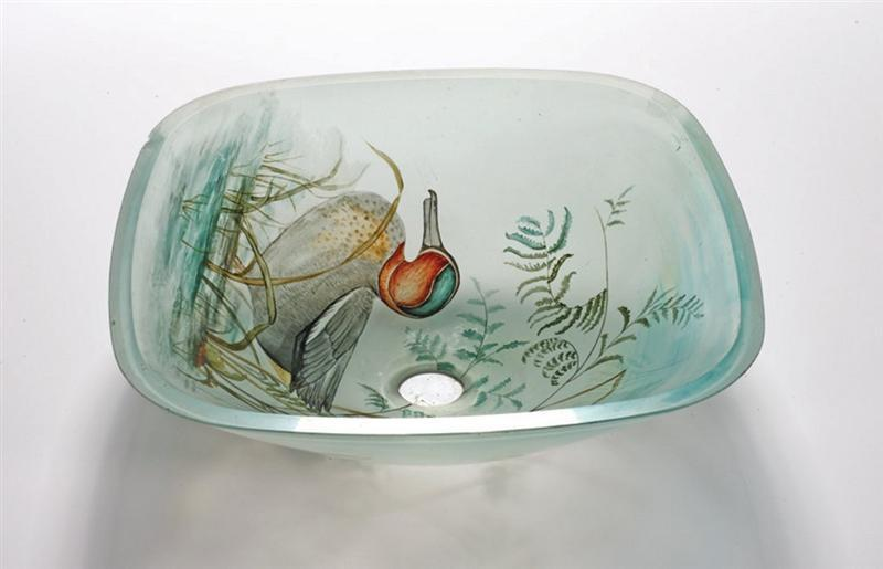 Tempered Glass Duck Bathroom Vessel Sink