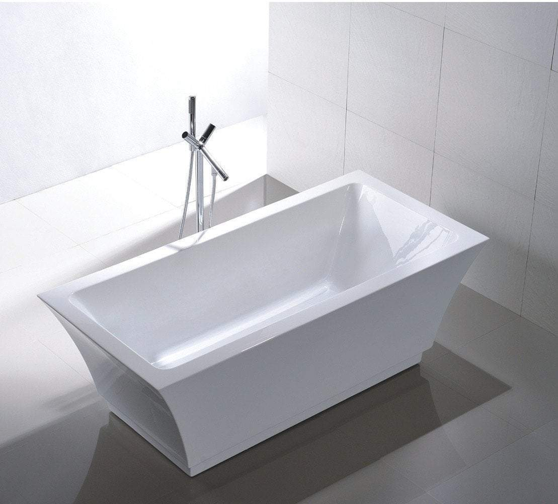"67"" White Acrylic Double Ended Rectangular Tub - No Faucet"