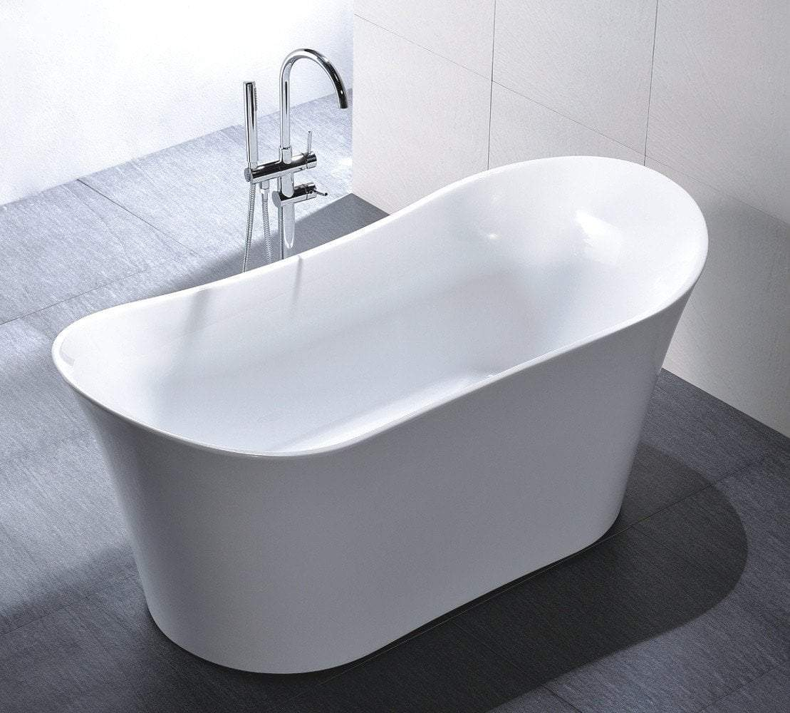 "67"" White Acrylic Double Slipper Tub - No Faucet"