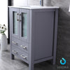 "24"" Dark Grey Single Vanity, Integrated Top, Integrated Square Sink, 22"" Mirror"