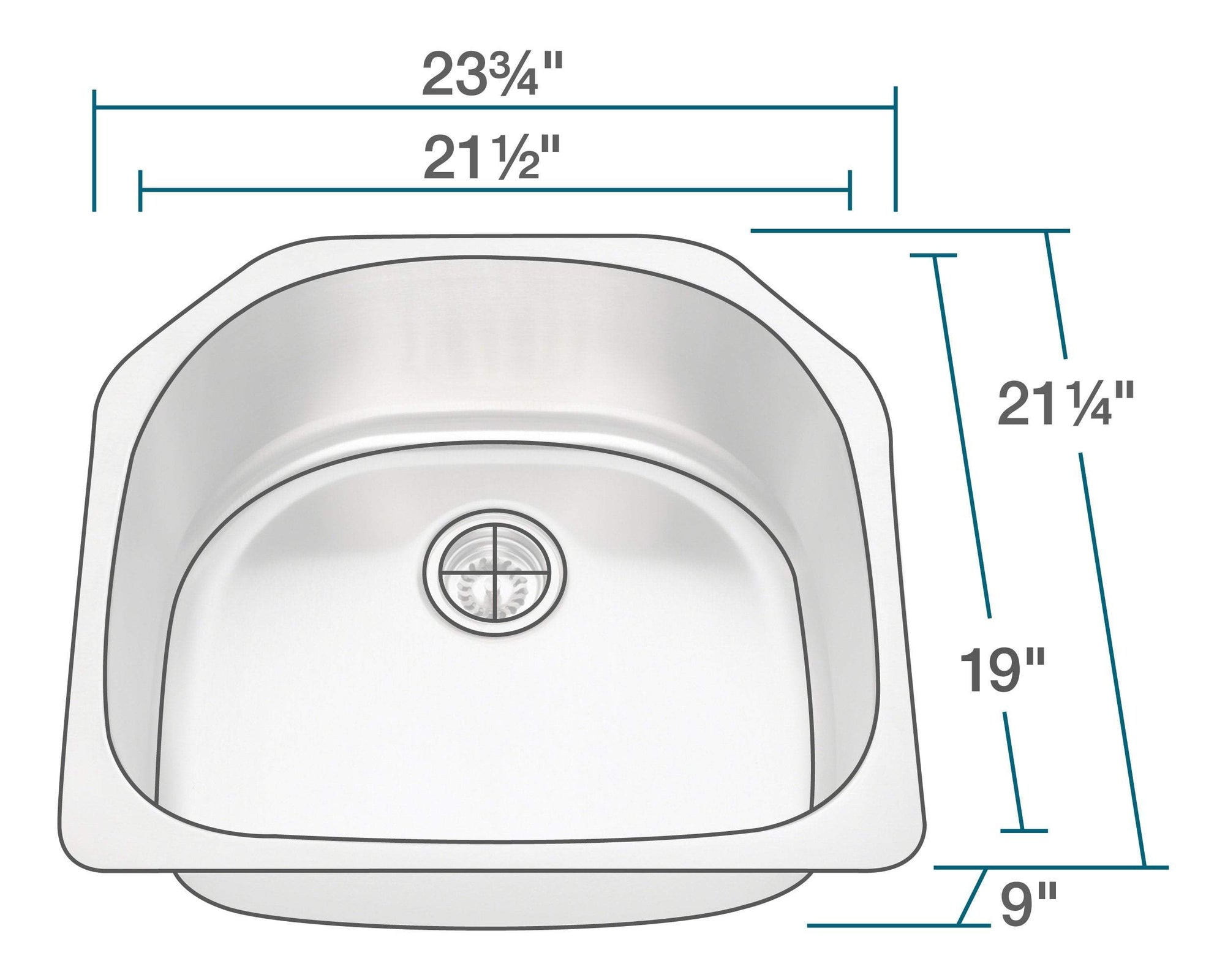P1242-18 D-Bowl Stainless Steel Kitchen Sink