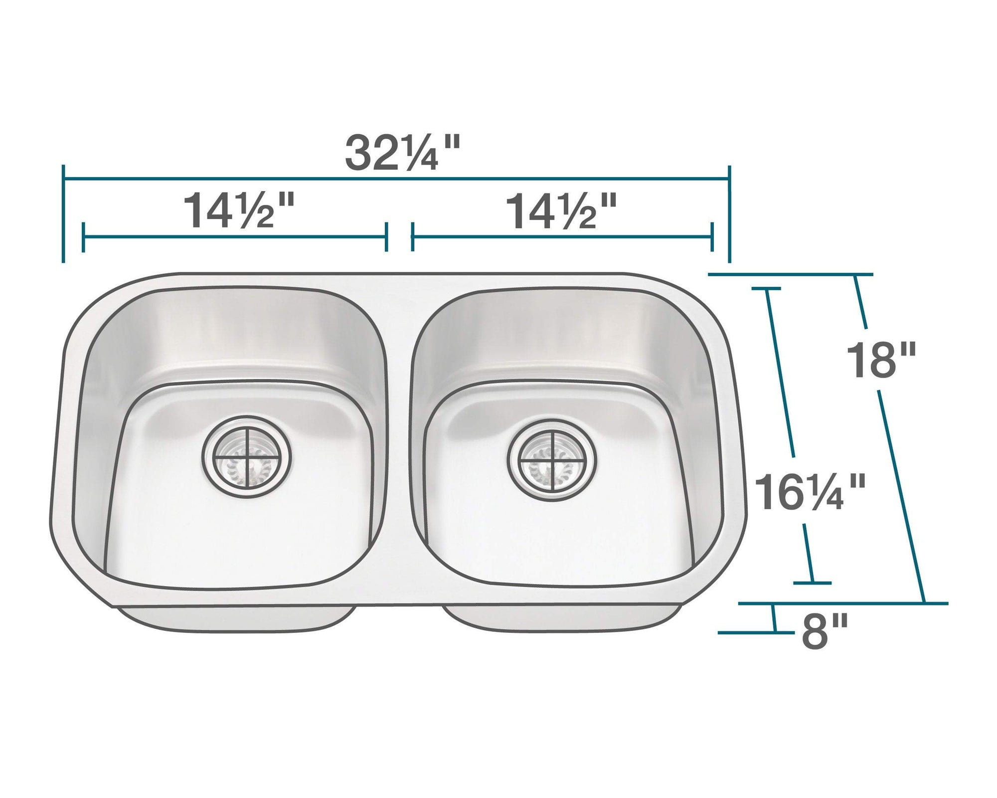 P205-18 Double Bowl Stainless Steel Sink