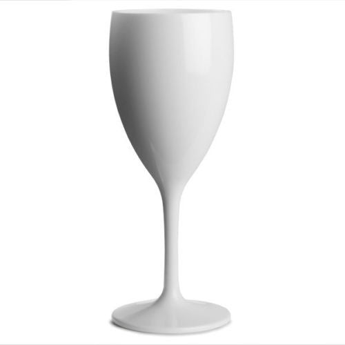 Premium Italian Designed White Polycarbonate Wine Glass 340ml x 4