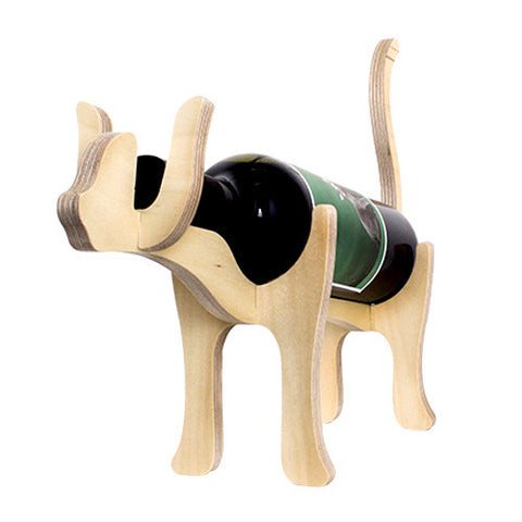Animal Bones Wooden Bottle Holder - Cat