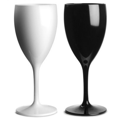 Premium Italian Designed Black and White Polycarbonate Wine Glasses 340ml x 4