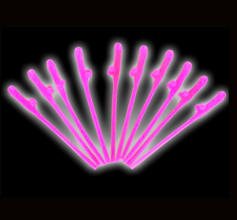 Hot Pink Willy Straws - 10 Pack